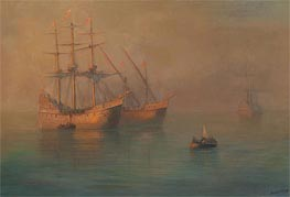 The Arrival of Columbus' Flotilla, 1880 by Aivazovsky | Painting Reproduction
