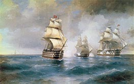 Battle of the Brig Mercury with two Turkish Battleships, 1892 by Aivazovsky | Painting Reproduction