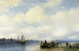 The Arrival of Peter I on Neva, 1853 by Aivazovsky | Painting Reproduction