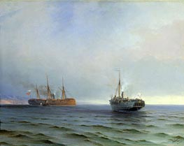 The Seizure of the Steamship 'Russia' the Turkish Military Ship 'Messina' in the Black Sea on Dec. 13, 1877, 1877 by Aivazovsky | Painting Reproduction