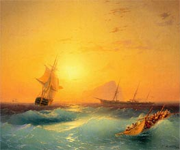 American Shipping off the Rock of Gibraltar, 1873 by Aivazovsky | Painting Reproduction