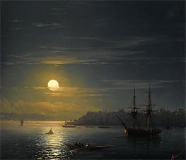 View of Constantinople in Moonlight, Undated by Aivazovsky | Painting Reproduction
