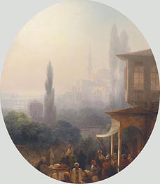 A Market Scene in Constantinople, 1860 by Aivazovsky | Painting Reproduction