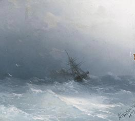 An American Steamer in Heavy Seas , 1873 by Aivazovsky | Painting Reproduction