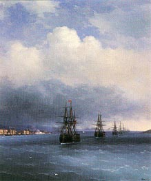 The Ottoman Fleet, 1873 by Aivazovsky | Painting Reproduction