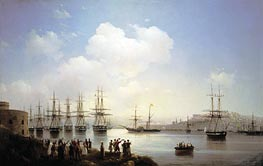 The Russian Squadron on the Sevastopol Roads, 1846 by Aivazovsky | Painting Reproduction