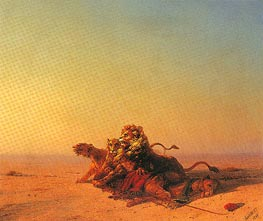 Lions in the Desert | Aivazovsky | Painting Reproduction