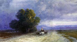Ox Cart Crossing a Flooded Plain | Aivazovsky | Painting Reproduction