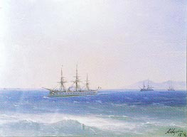 French Warships offshore | Aivazovsky | Painting Reproduction