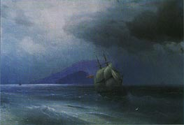 Turkish Ship at Night, 1874 by Aivazovsky | Painting Reproduction