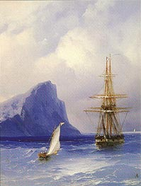 Sailing Boat approaching a Russian Ship | Aivazovsky | Painting Reproduction