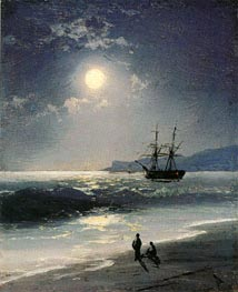 Sailing Ship on a Calm Sea by Moonlight | Aivazovsky | Painting Reproduction
