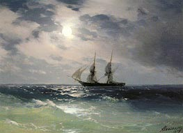 The Brig Mercury in the Moonlight | Aivazovsky | Painting Reproduction