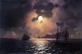 Shipping on a Moonlit Night | Aivazovsky | Painting Reproduction