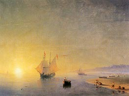 Turkish Coastal Scene, 1874 by Aivazovsky | Painting Reproduction