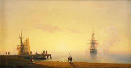 Turkish Coastal Scene, Ship off the Beach | Aivazovsky | Painting Reproduction