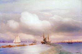 Steamship and Rafts off St. Petersburg | Aivazovsky | Gemälde Reproduktion