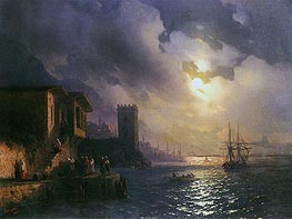 Capriccio of Ottoman Coastal Scene on a Moonlit Night | Aivazovsky | Painting Reproduction