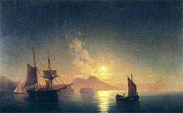 View of Vesuvius on a Moonlit Night | Aivazovsky | Painting Reproduction
