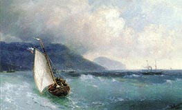 Sailing Boat off Yalta, Ayu Dag beyond, 1893 by Aivazovsky | Painting Reproduction