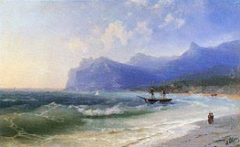 The Beach at Koktebel on a Windy Day, undated by Aivazovsky | Painting Reproduction