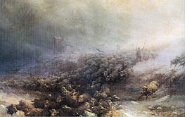 Stampede of Sheep into Icy Water, 1884 by Aivazovsky | Painting Reproduction