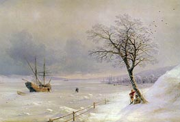 Frozen Bosphorus under Snow, 1874 by Aivazovsky | Painting Reproduction