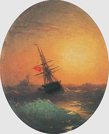 Turkish Ship on a Wavy Sea, undated by Aivazovsky | Painting Reproduction