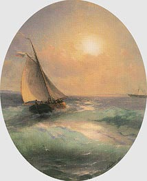 A Sailing Barge at Sunset Flying the Russian Tricolour, 1883 by Aivazovsky | Painting Reproduction