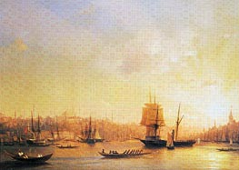 Dusk on the Golden Horn, 1845 by Aivazovsky | Painting Reproduction