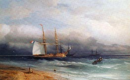 Shipping off the Coast, 1857 by Aivazovsky | Painting Reproduction