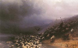 Stampede of Sheep into Water, 1861 by Aivazovsky | Painting Reproduction