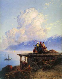 Turks Conversing by the Black Sea at Sunset, 1898 by Aivazovsky | Painting Reproduction