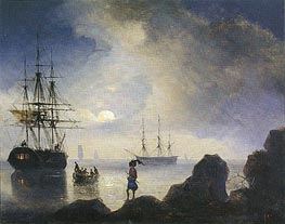 Moonlight off the Crimean Coast, 1836 by Aivazovsky | Painting Reproduction