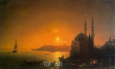 View of Constantinople by Moonlight, 1846 | Aivazovsky | Painting Reproduction