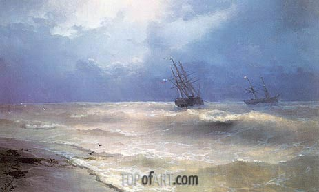 White-Caps on the Coast of the Crimea, 1892 | Aivazovsky | Painting Reproduction