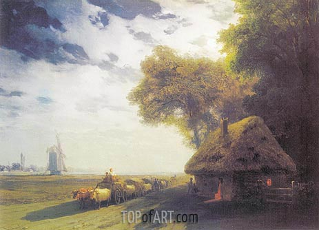 Ukrainian Landscape at the Moon, 1869 | Aivazovsky | Painting Reproduction