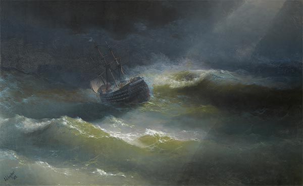 The Maria in a Gale, 1892 | Aivazovsky | Painting Reproduction