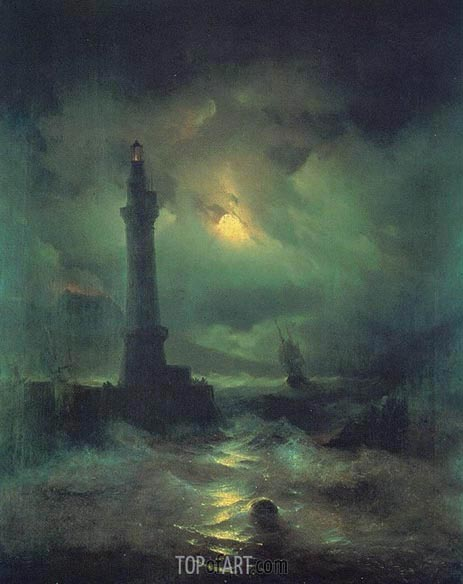 The Neapolitan Beacon, 1842 | Aivazovsky | Painting Reproduction