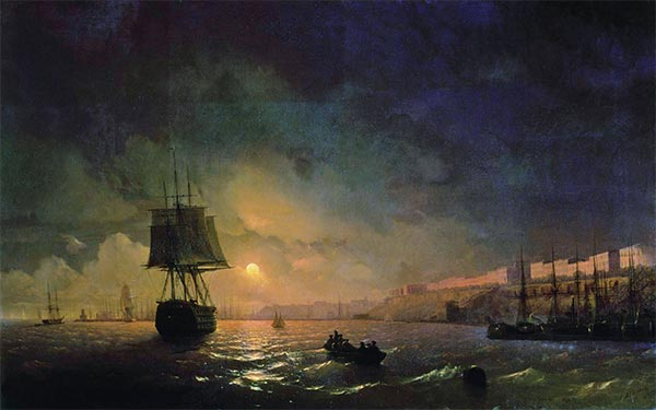 View Odesa in a Moonlight Night, 1855 | Aivazovsky | Painting Reproduction