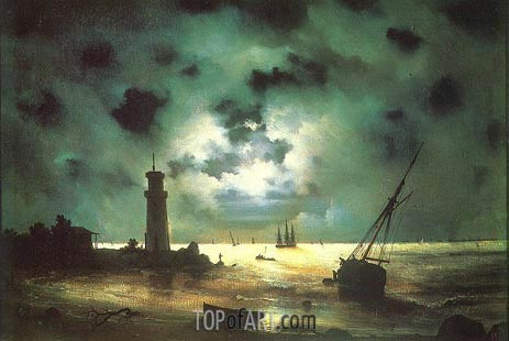 Seacoast at Night. At a Beacon, 1837 | Aivazovsky | Painting Reproduction