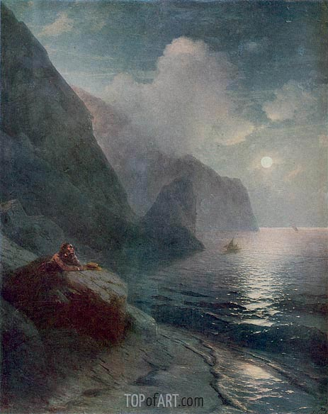 Pushkin by the Cliffs of Gurzuf in the Crimea, 1880 | Aivazovsky | Painting Reproduction