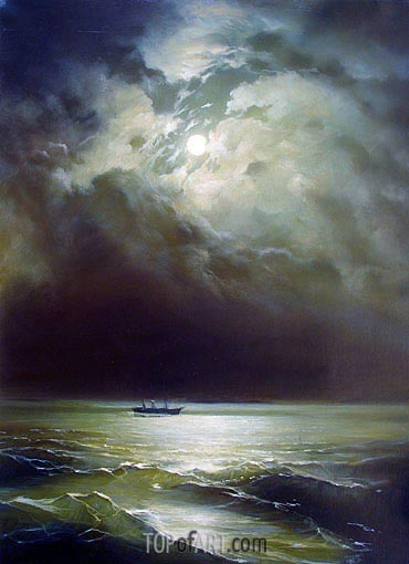 The Black Sea at Night, 1879 | Aivazovsky | Painting Reproduction