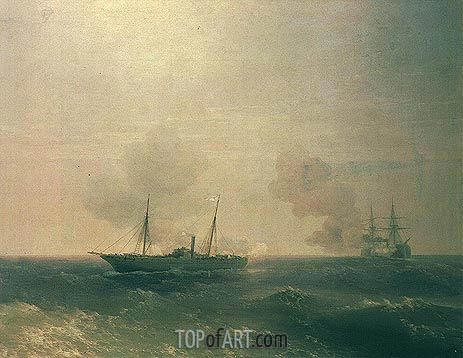Action Between Vesta & Turkish Battleship in Sea, 1877 | Aivazovsky | Painting Reproduction