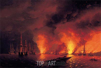 The Battle of Sinop, 18 November 1853 (The Night after the Battle), 1853 | Aivazovsky | Gemälde Reproduktion