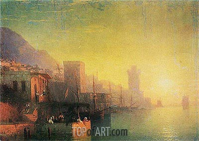 On the Island of Rhodes, 1861 | Aivazovsky | Painting Reproduction