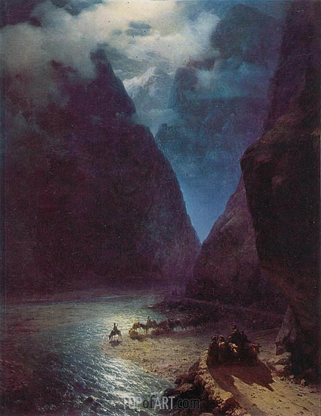 Daryal Gorge, 1862 | Aivazovsky | Painting Reproduction