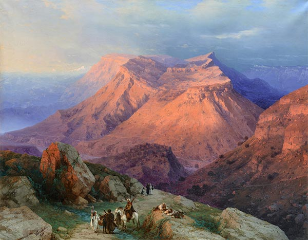 The Aul of Gunib in Dachestan, View from the East, 1869 | Aivazovsky | Painting Reproduction