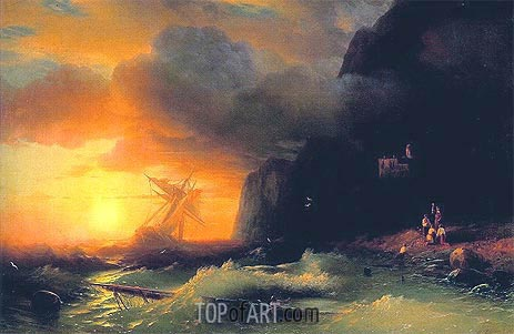 Shipwreck off Mount Athos, 1856 | Aivazovsky | Painting Reproduction