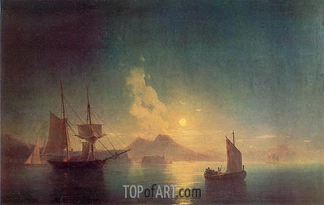 The Bay of Naples by Moonlight, 1850 | Aivazovsky | Painting Reproduction